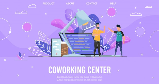 Landing page presenting modern coworking center