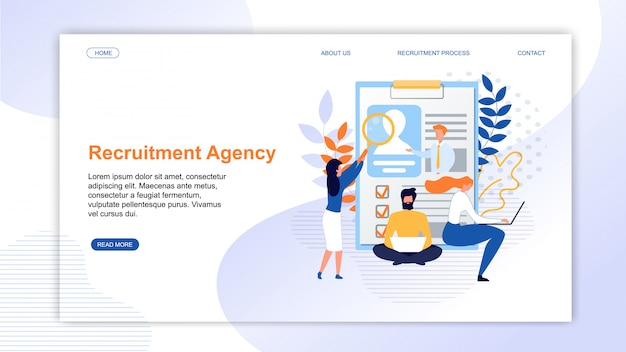 Landing page presenting online recruitment agency