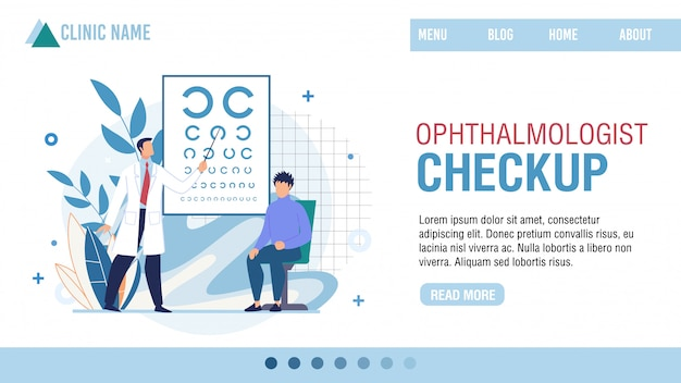 Landing page presenting ophthalmologist clinic
