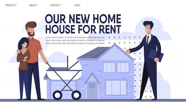 Landing page presents sales company rent agency