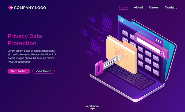 Landing page of privacy data protection, gdpr