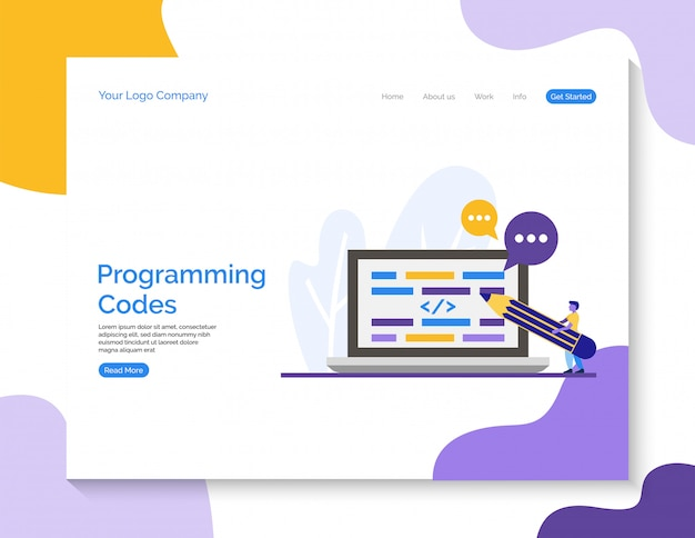 Landing page. programming codes vector for website.