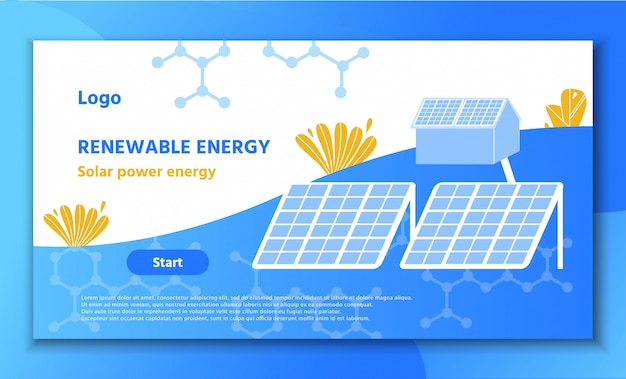 Landing page promote renewable solar power energy