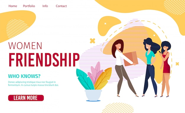 Landing page promotes female friends communication