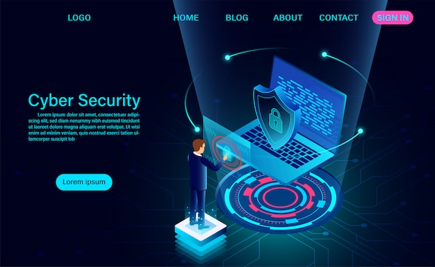 Landing page protect data and confidentiality and data privacy protection concept