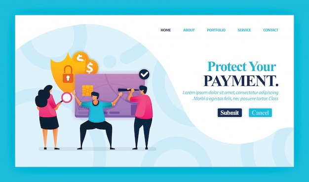 Landing page of protect your payment.