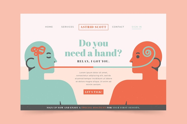 Landing page for psychological help