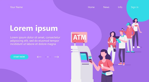 Landing page, queue of people standing for using atm. bank customer inserting credit card to slot for transaction. vector illustration for business, banking, finance concept