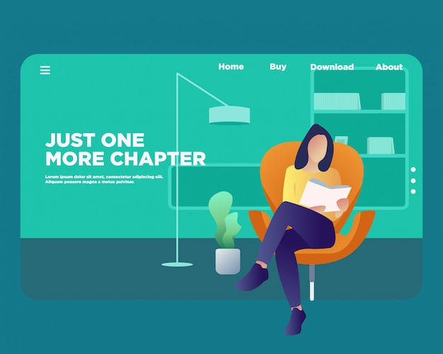 Landing page. reading book concept.