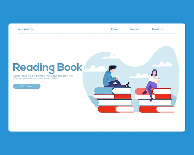 Landing page. reading books