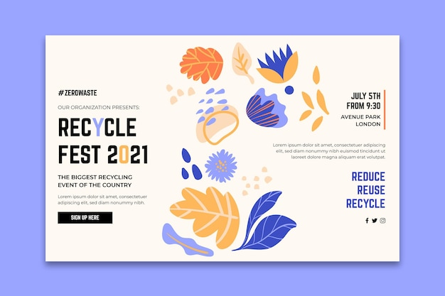 Landing page for recycling day festival