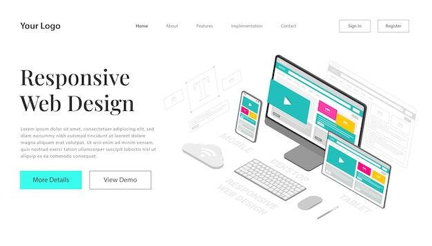 ランディングページレスポンシブウェブサイトのデザイン。ウェブサイトとモバイルウェブサイトの開発のためのウェブページのデザインの現代のベクトルイラストアイソメトリック。編集とカスタマイズが簡単です。