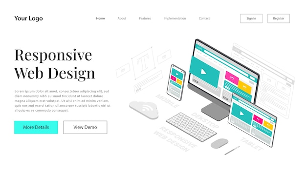 Landing page responsive website design. modern vector illustration  isometric of web page design for website and mobile website development. easy to edit and customize.