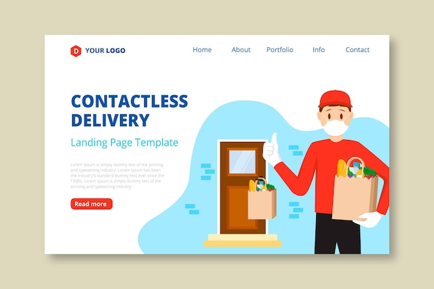 Landing page for safe food delivery