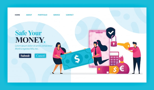 Landing page of safe your money.