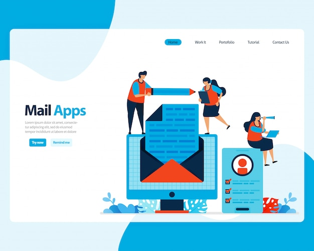 Landing page of sending, receiving, managing e-mail. work scheduling with digital business e-mail services. illustration