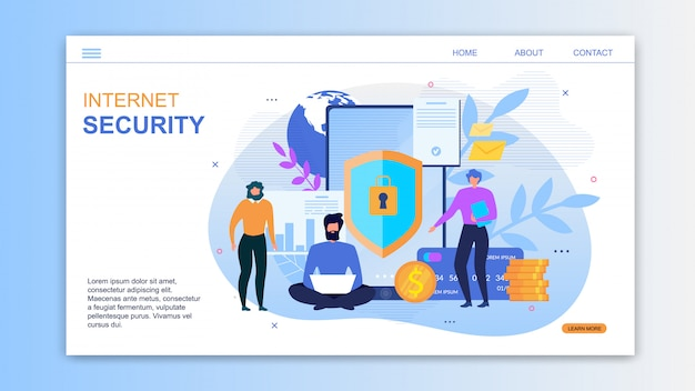 Landing page for service offers internet security