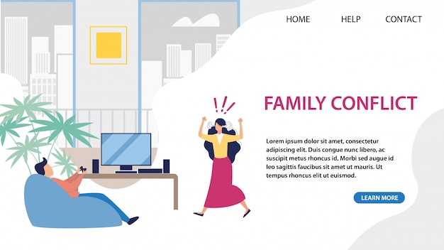 Landing page for service solving family conflict