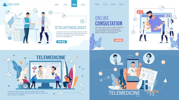 Landing page set advertising telemedicine services