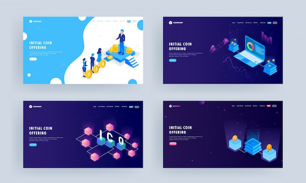 Landing page set, illustration of business people holding cryptocurrency with server and infographic presentation in laptop.