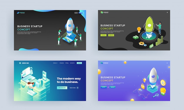 Landing page set with fast working employee in different platform and successful project launching a rocket of company growth.