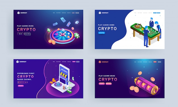 Landing page set with illustration of gambler characters, roulette wheel, slot machine and crypto coins for play casino using crypto.