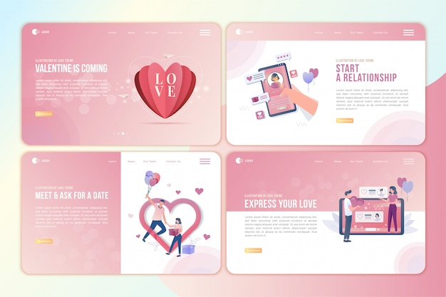 Landing page set with illustration of love story