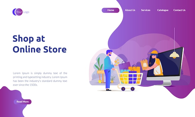 Landing page of shop at online store