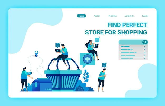 Landing page of shopping cart with people around who want to shop. e-commerce with delivery and cardboarding services.