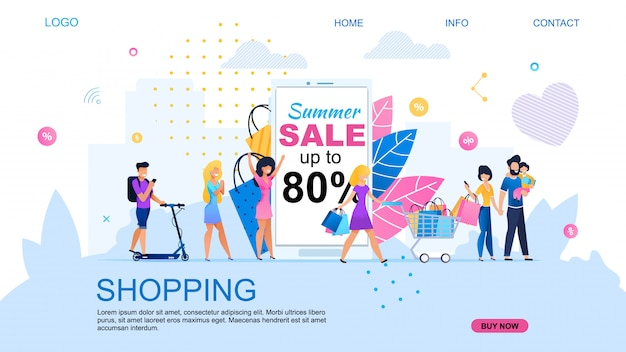 Landing page for shopping online with discount.