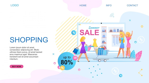 Landing page for shopping online with summer sales