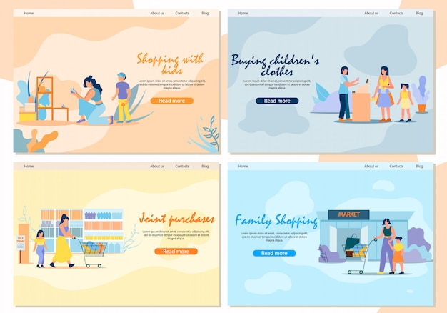 Landing page. shopping with children and family shopping.