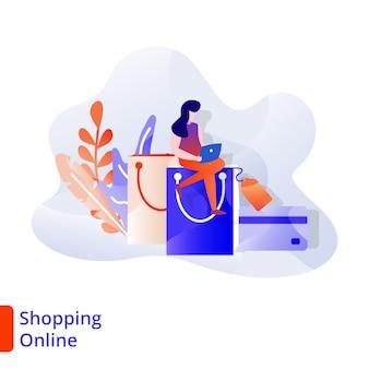 Landing page shopping онлайн иллюстрация современная, цифровой маркетинг