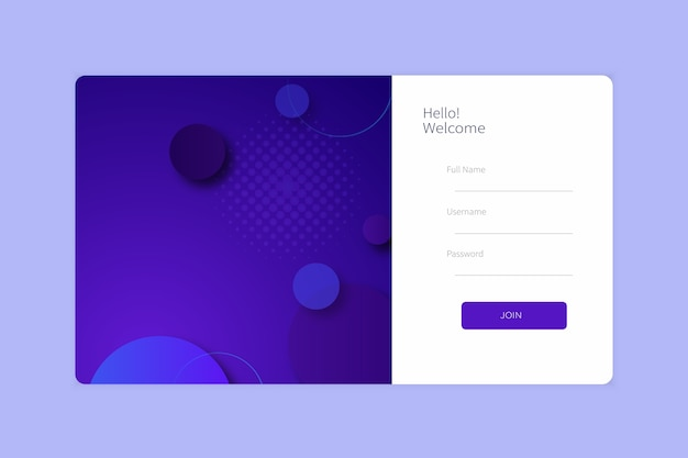 Landing page sign up or login form template