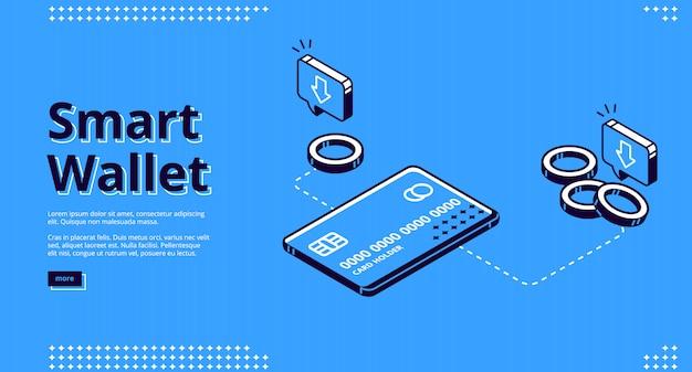 Pagina di destinazione del portafoglio intelligente, finanza elettronica