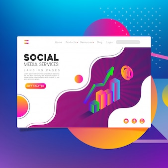 Landing page social media services