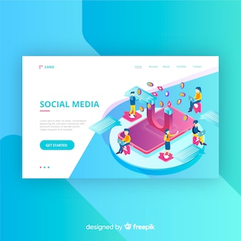 Landing page of social networks in isometric style