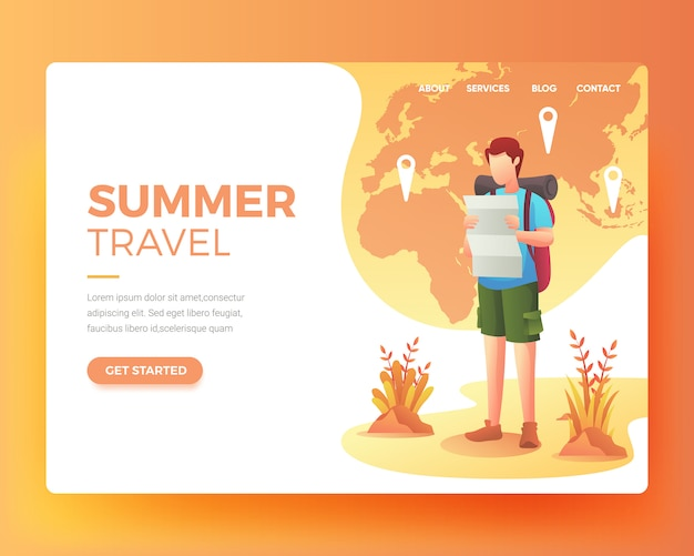 Landing page of someone who wants to go on vacation