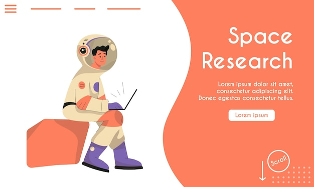 Landing page of space research concept