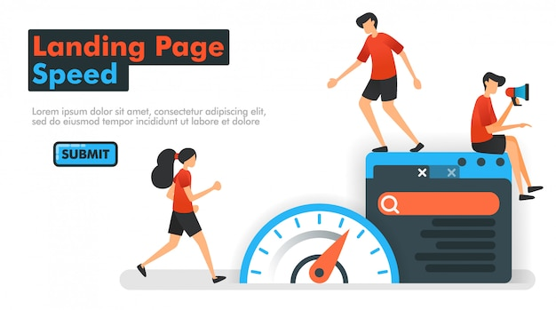 Landing page speed vector illustration