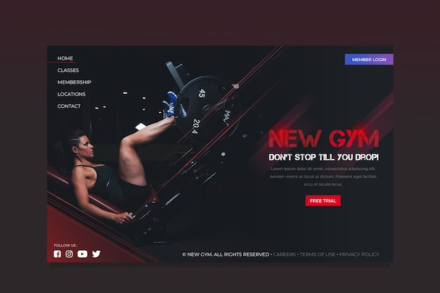 Landing page sport template with image