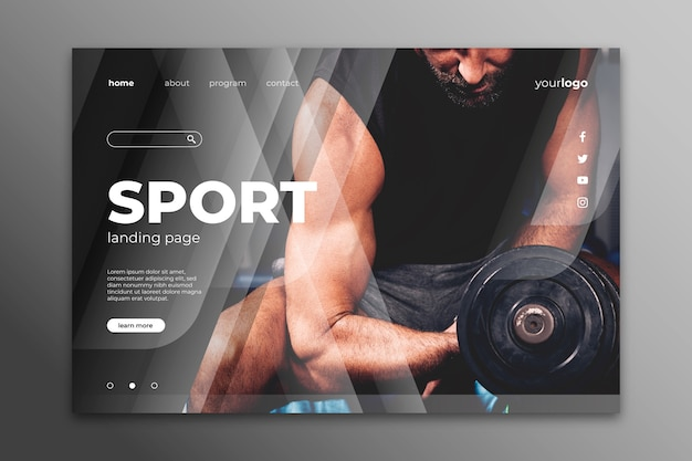 Landing page sport with image