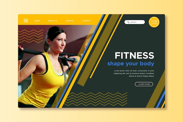 Landing page sport with photo