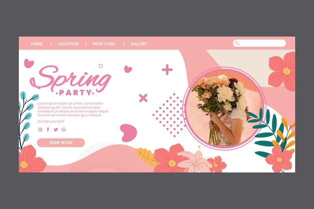 Landing page for spring party with woman and flowers