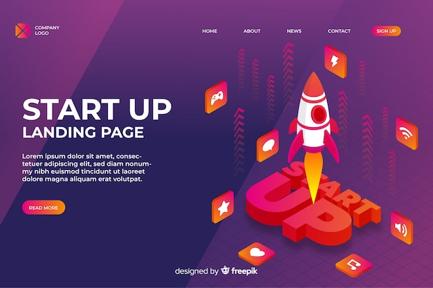 Landing page of start up company