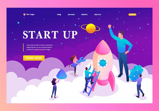 Landing page of start up a new business by young entrepreneurs