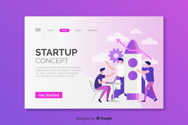 Landing page startup concept with rocket