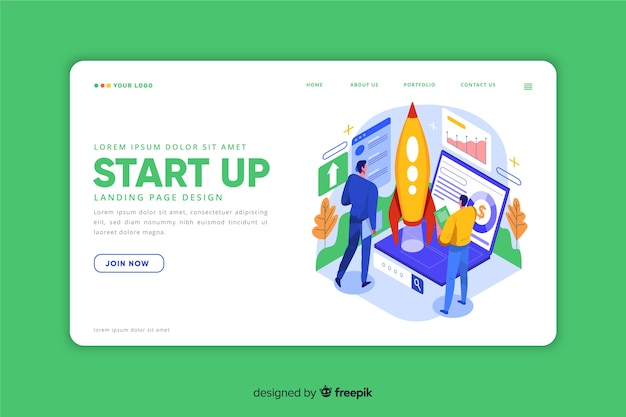 Landing page for startup in isometric design