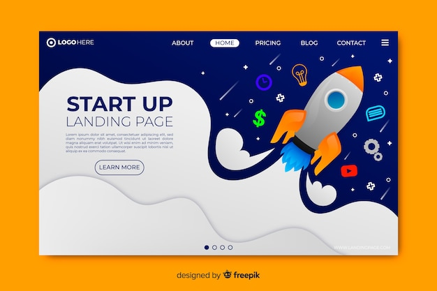 Landing page startup template