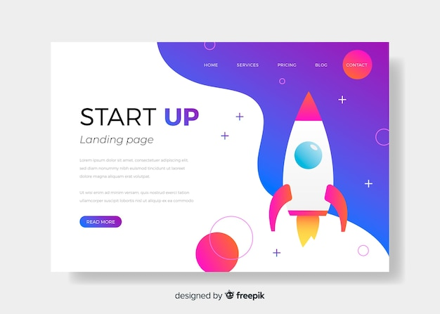 Landing page startup with rocket